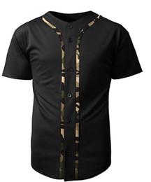 Рубашка камуфляж xxl онлайн-Mens Baseball Team Jersey Футболки с длинным рукавом с короткими рукавами, цвет черный / майка с камуфляжным принтом