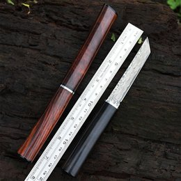 2019 cuchillos samurai Espada japonesa de samurai VG10 Hoja de acero de Damasco Mango de madera Cuchilla fija con funda de madera Cuchillos de caza para exteriores rebajas cuchillos samurai