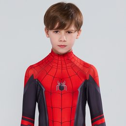 Enfants Spider-Man Far From Home Peter Parker Cosplay Costume Zentai Spiderman Costume Super-héros Bodysuit Tenues Halloween CostumeMX190921 ? partir de fabricateur