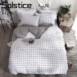 Ropa de cama chica soltera online-Textiles para el hogar Negro Celosía Funda Nórdica Funda de Almohada Sábana Sencilla Boy Girls Bedding Sets 3 / 4Pcs Single Double Bedlinen