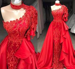più le gonne rosse di formato Sconti 2019 Plus Size Mermaid Red One Shoulder Prom Dresses Appliques in rilievo con gonna staccabile lunghi abiti da sera BC0693