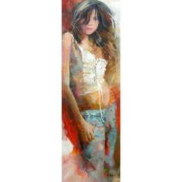 pinturas de arte meninas bonitas Desconto Bela senhora pinturas a óleo figura arte moderna Pretty girl Handmade arte da parede