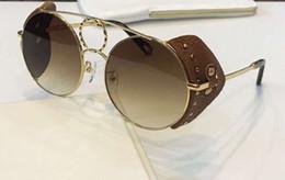 148SL золотисто-коричневые кожаные / коричневые солнцезащитные очки с градиентом круглые очки женские дизайнерские солнцезащитные очки от