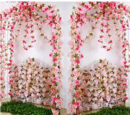 2019 fiori artificiali all'ingrosso Fiore artificiale fiore di ciliegio vite all'ingrosso fiore finto fiore di ciliegio canna da rattan decorazione della parete cherry blossom vine wedding sconti fiori artificiali all'ingrosso