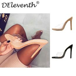 Argentina Dilys 2019 PVC jalea sandalias de los altos talones de las mujeres transparentes de plexiglás Zapatillas Zapatos de tacón Sandalias Claro tamaño 35-42 Suministro