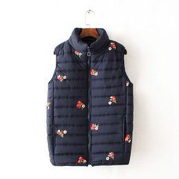 Tanque azul de impresión online-Estilo lindo Otoño Suéteres Top para mujer estampado de flores Sin mangas Simple Mujer Tanques chaleco colores rojo y azul