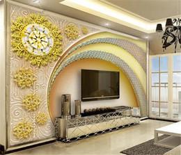 2019 amerikanische tapeten Europäischer Tapeten-Europäer und amerikanische Art-Diamant-Tür-Goldblumenwand-Dekorations-Wandpapier 3d Tapete rabatt amerikanische tapeten