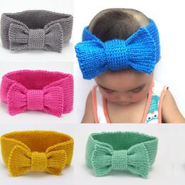 crochê de bebê turbante Desconto Quente Inverno do bebê Turban malha de lã Headbands Moda Crochet Big Bow Headwear Meninas Cabelo Acessórios Infante recém-nascido Headwrap C5713