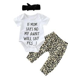 2019 impressão de leopardo bebê roupas meninos 3 PCS Conjunto Bebê Recém-nascido Menina Menino Carta de Manga Curta Imprimir Algodão Bodysuit Tops Calça De Leopardo Headband Roupas Roupas de Bebê impressão de leopardo bebê roupas meninos barato