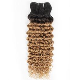 polegadas, indiano, profundo, onda, cabelo Desconto Pacotes Tecer Cabelo Encaracolado Indiano Onda Profunda 1B / 27 Ombre Mel Loira Dois Tons 1 Pacotes de 10-24 polegada Peruano Malaio Extensões de Cabelo Humano