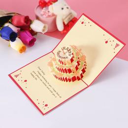 Всплывающая карта торта онлайн-UNOMOR 1 PC 3D Colorful Paper Sculpture Birthday Card Birthday Cake Pop Up Greeting Cardsparty Favors (Happy Birthday)
