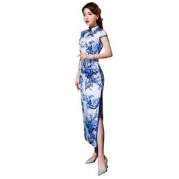 2019 kurze frauenkleid blau weiß Shanghai geschichte kurzarm qipao lange chinesische dress frühling cheongsam blau und weiß porzellan drucken qipao dress für frau günstig kurze frauenkleid blau weiß
