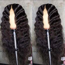 pelucas flojas del frente del cordón Rebajas Envío gratis sin cola del frente del cordón pelucas para las mujeres Natural Curle suelto de fibra resistente al calor del pelo sintético con el pelo del bebé 18 pulgadas encaje peluca