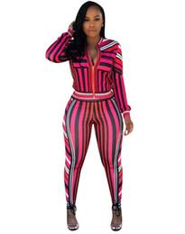 b5c985f2ee30 Joiekuno Striped Sexy Long Jumpsuits blusas mujer de moda 2019 Zippers Two  piece set V neck Women Set Los pantalones YC1586