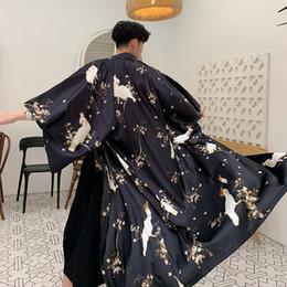 2019 jaquetas curtas Homens Brocade Solto Casual Camisa Longa Trench Coat Masculino Mulheres Kimono Manga Curta Cardigan Sunscreen Jaqueta de Praia Robe Blusão jaquetas curtas barato