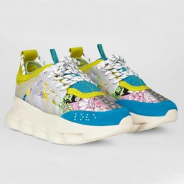 Wholesale Nuovo REAZIONE A CATENA Sneaker di grandi dimensioni di design per donna Uomo Chaussures in pelle Scarpe da ginnastica rosa blu Scarpe casual con sacchetto per la polvere