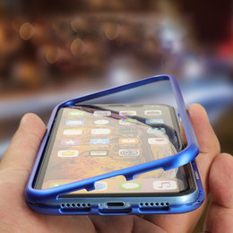 Caja de teléfono transparente online-Estuche magnético de lujo para teléfono para iPhone 6 7 8 Plus X XS XR Estuche Imán Estuche rígido transparente para PC de vidrio templado de una cara