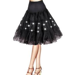 Jupe de danse blanche en Ligne-Plissé 2 couches tulle jupon Danse fête de noël lumière colorée LED jupes tutu Sexy noir blanc mini jupon