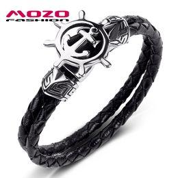 2019 bracelete dobro da escora Moda Bangle Men Jóias Preto Double Layer pulseira de couro de aço inoxidável Punk Anchor leme encanto simples pulseira PS1040 desconto bracelete dobro da escora