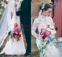 2020 modest estilo uk alta neck vestidos de casamento manga comprida cheia de renda sereia rural boho vestido de noiva queda quente desgaste do inverno cheap modest style dresses de Fornecedores de vestidos estilo modesto