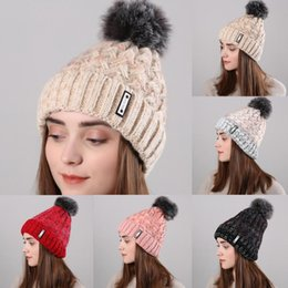 276b8e261f0 beanie hat red Canada - Fashionable Women Winter Warm Beanie Cap Wool  Knitted Faux Fur Ball