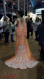 Árabe elegante caftan abayas on-line-2019 New Elegant Kaftan Abaya Arabic Evening Dresses Beaded Sequins Appliques Chiffon Long Formal Gowns Dubai Muslim Prom Dresses 170