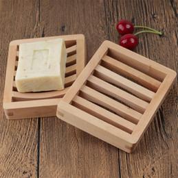 cremalheiras do armazenamento do banheiro Desconto Personalizado LOGO Bamboo Soap madeira saboneteira Wooden Tray Titular Armazenamento Soap cremalheira Placa Box Container para o banho chuveiro casa de banho