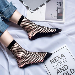 Сексуальные носки сетчатки носки онлайн-korean style woman socks cotton Socks Women Sexy Lace Fishnet Net Plain Top-Ankle Short Stylish medias tobilleras mujer