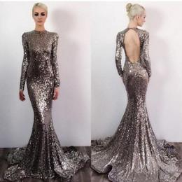 Sexy offener kragen online-Open Back Long Sleeves Sparkle Silber Pailletten Sexy Mermaid Prom Dresses 2019 Kragen Abendkleider nach Maß
