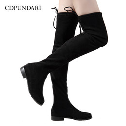 Primavera Otoño Sobre La Rodilla Botas Para Mujer 2017 de la rodilla plana botas altas Elástico de Alta Del Muslo Botas de Tacones altos Resbalón en