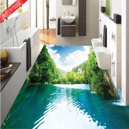 Naturboden online-Benutzerdefinierte Boden Tapeten-3D klare See Natur Badezimmer Fussboden Mural-3d PVC-Wand-Papier selbstklebend