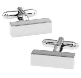 Abotoaduras simples on-line-Dois tipos de design de Plain Metal Série Retângulos Superfície do Espelho Abotoaduras Mens Jóias camisa abotoaduras