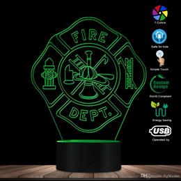 Lâmpadas de bombeiros on-line-Corpo de Bombeiros Sinal Handmade Projetado abajur 3D Fire Rescue Dept 7 Cor Mudar Lâmpada LED Lâmpada de mesa para o bombeiro Presente original
