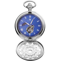 Relógios do ouyawei on-line-OUYAWEI Unisex Esqueleto de Bolso Relógios de Luxo Vintage Colar Relógio Mecânico Cadeia Antique Fob Relógio Pingente relógio à prova d 'água