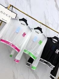 tecido de malha leve Desconto Verão 2019 nova carta espiral cuff hem ultra-fino protetor solar manga longa T-shirt, tecidos de malha leve e respirável conforto