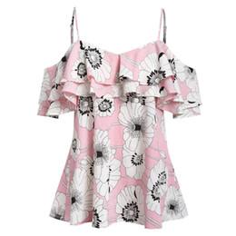 niedlich bedruckte blusen Rabatt Plus Size Frauen Sling Printed Camis Kurzarm Rüschen Cold Shoulder Bluse beliebte süße bluzka na ramiaczkach