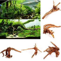 Pesci ornamentali online-All'ingrosso-Driftwood Aquarium Ornament Stump Cuckoo Radice Tronco d'albero Decor Fish Tank Ornamentali arco di pesce Aquarium decorationl