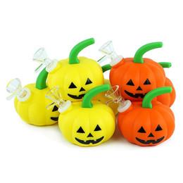 """Orangenbongs online-2.1"""" Halloween Gelb Orange Kürbis Wasserrohr Silikon Bong dab rig mit Glasschüssel portable Wasserpfeife"""