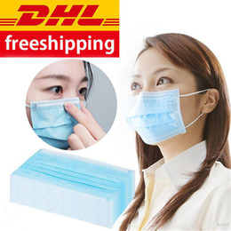 2020 imballaggio maschera facciale Disposable Face Mask 3 Layer Ear-loop Dust Mouth Masks Anti-dust Cover Non-woven Facial Protective Masks Breathable Adult with Box Package imballaggio maschera facciale economici