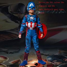 2020 cosplay do músculo super-herói Muscle Superhero Crianças Capitão América traje Avengers Criança Cosplay Super Hero Halloween fantasias para crianças Meninos Meninas S-XLMX190921 cosplay do músculo super-herói barato