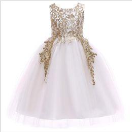 1 unids 2019 Niñas Bordado de Oro Princesa Vestido de niña de diseñador ropa de boutique sirena vestidos de baile Vestidos Formales Vestido de Novia desde fabricantes