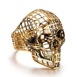 gothic stainless steel ring Promo Codes - New Hiphop Cool Death Skull Head Ring Men's Gothic Carving Ring 316L Stainless Steel Hollow grid Skull Ring Halloween Jewelry Accessories