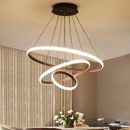 2019 decoraciones de cocina italiana 3 anillos led moderna lámpara de araña de acrílico restaurante dormitorio sala de estar araña De Techo Home Lighting AC110V 220V