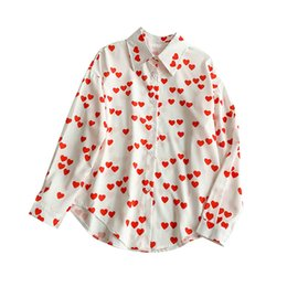 c0c458607f8 NiceMix Korean New Love Pattern Long Loose Sleeve Lazy Shirt Women Spring  2019 Summer Blusas Mujer De Moda Blouse Red Heart Shap