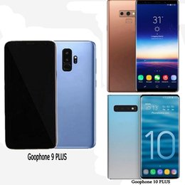 bar barato gsm bar Rebajas Libre DHL Goophone S10 plus Nota 9 con teléfonos inteligentes Touch ID desbloqueados Mostrar Android8.1 octa core 4GRAM 128G 4GLTE 6.4 pulgadas Celular Caja sellada