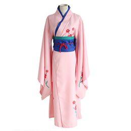 Kimono gintama online-Gintama Cosplay Shimura Tae Cos Fiesta de Halloween con Kimono impreso Juego completo 4en1 (Kimono + faja + almohadilla lumbar + cuerda de la cintura)