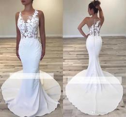 1cfe2baf8c Más el tamaño romántico blanco Sheer cuello vestidos de boda ilusión  apliques Top sirena corte tren vestidos de novia botón cubierto Volver  BC0497