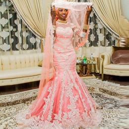 Femmes africaines nigériennes robes en Ligne-Africain rose robes de sirène merg dinMuslim avec demi-manches Appliqued robe de mariée nigérian recouvert de boutons robes femmes arabes