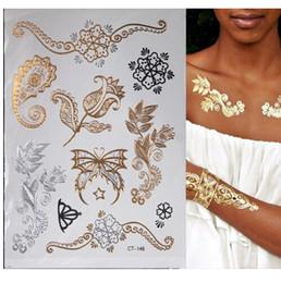 2019 diseños de tatuajes metalicos Hot Flash Metallic Impermeable Tatuaje Temporal Oro Plata Tatoo Mujeres Henna Flor Taty Diseño Etiqueta Engomada del Tatuaje diseños de tatuajes metalicos baratos