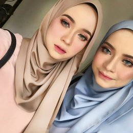 scialle pianeggiante di georgette Sconti Hijab musulmano Sciarpa Foulard Wrap georgette dello scialle islamico Donne di base Veils signora Turbante Plain Bubble Chiffon